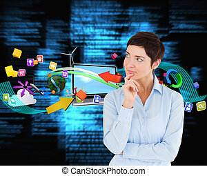 azul, ella, mujer de negocios, contra, mano, textos,...