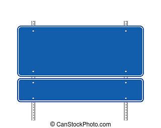 azul, em branco, estrada, sinal