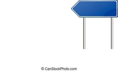 azul, em branco, sinal estrada