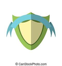 azul, emblema, escudo, proteção, verde, sombra, fita