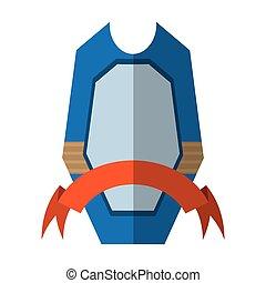azul, emblema, escudo, quadro, proteção, sombra, fita