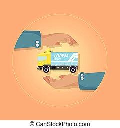azul, emblema, grande, caminhão, fundo, laranja