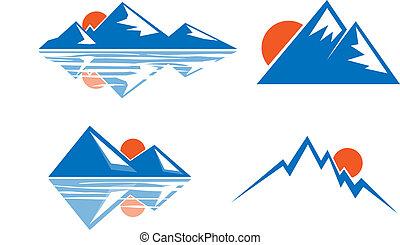 azul, emblema, montanhas
