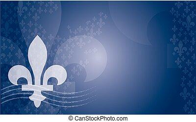 azul, emblema, quebec, plano de fondo