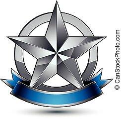 azul, emblema, sofisticado, vector, brillante, wav, estrella, plata