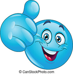 azul, emoticon, polegar cima