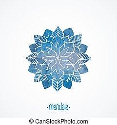azul, encaje, pattern., acuarela, vector, mandala, element.