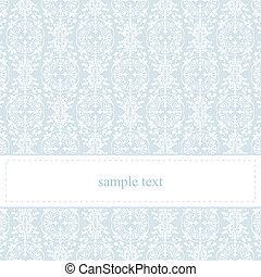 azul, encaje, vector, invitación, o, tarjeta