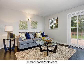 azul, encantador, sofa., sala