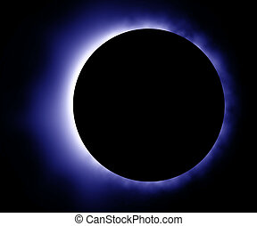 azul, encendido, eclipse