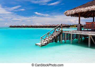 azul, encima, agua, bungalow, pasos, laguna