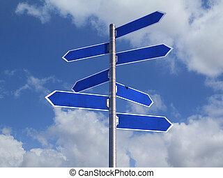 azul, encima, blanco, cielo, nublado, señales, direcciones