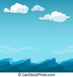 azul, encima, cielo, plano de fondo, mar