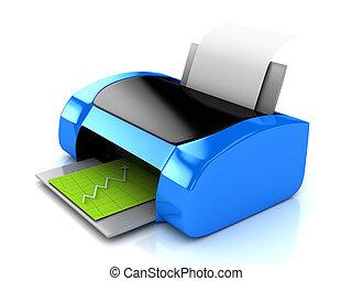 azul, encima, impresora, blanco, 3d