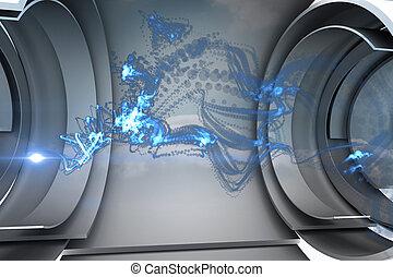 azul, energía, en, futurista, estructura