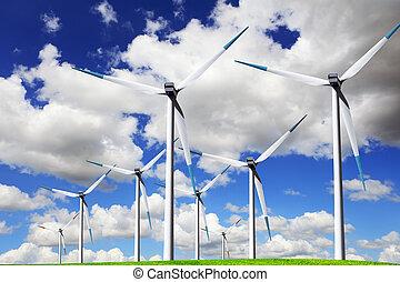 azul, energía, viento