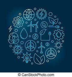 azul, energia alternativa, ilustração, circular