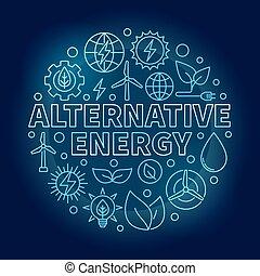 azul, energia alternativa, ilustração