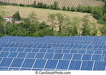 azul, energia, painéis, solar