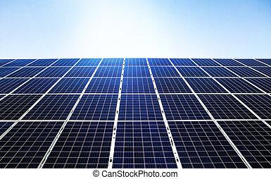 azul, energia, renovável, solar