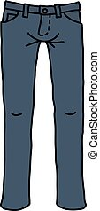 azul, engraçado, calças brim