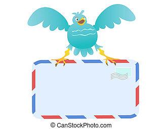 azul, engraçado, carregar, pássaro, correio