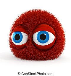 azul, engraçado, olhos, grande, macio, criatura, 3d