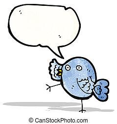 azul, engraçado, pássaro, caricatura