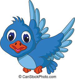 azul, engraçado, pássaro voador, caricatura