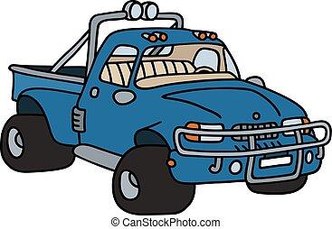 azul, engraçado, pick-up