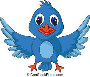azul, engraçado, posar, pássaro, caricatura