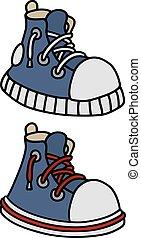 azul, engraçado, sneakers