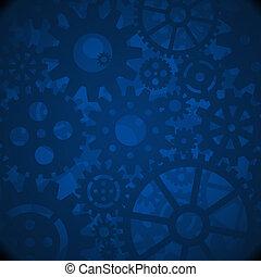 azul, engrenagens, fundo
