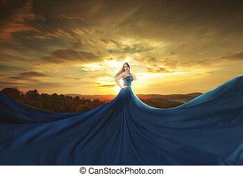 azul, enorme, vestido