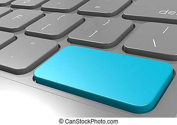 azul, entrar, botón, en, negro, ordenador teclado