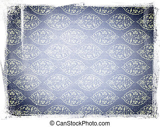 azul, envelhecido, papel, com, ornamentos