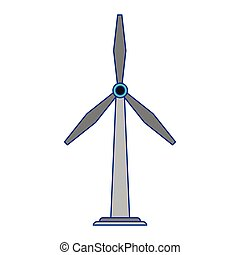azul, eolic, energia, linhas, turbina, vento