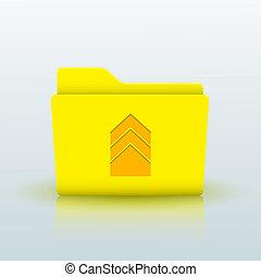 azul, eps10, amarela, experiência., vetorial, pasta