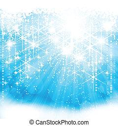 azul, (eps10), luz festiva, cintilante, fundo