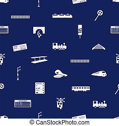 azul, eps10, padrão, seamless, trem, estrada ferro