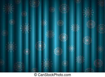 azul, eps10, snowflakes, fundo, cortina, natal