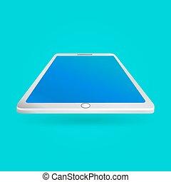 azul, eps10, tabuleta, tela, isolado, ilustração, experiência., vetorial, perspectiva, branca, vista., vazio