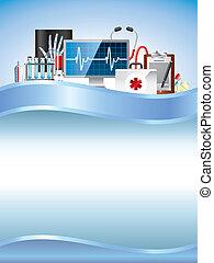 azul, equipamento, médico, vetorial, fundo