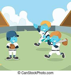 azul, equipe basebol, pronto, treinar