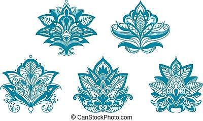 azul, esboçado, flores, paisley