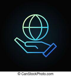 azul, esboço, globo, mão, vetorial, segurando, ícone