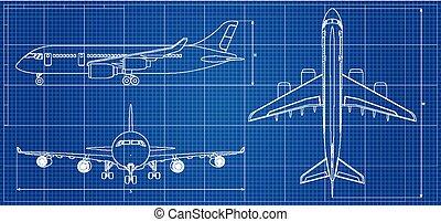 azul, esboço, ilustração, experiência., aeronave, vetorial, avião, blueprint.