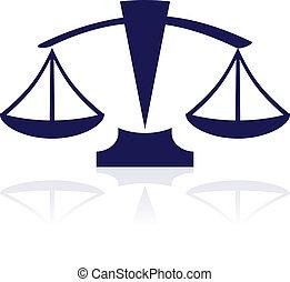 azul, escalas, justicia, -, vector, icono