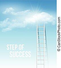 azul, escalera, éxito, sky., ilustración, vector, manera, nube