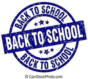 azul, escola, grunge, selo, costas, redondo